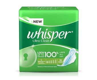 Whisper Ultra Clean L with Wings (15 Pads)